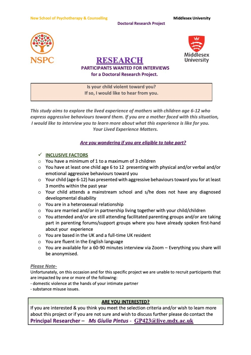 Giulia's RESEARCH - CPVA project -2021- NSPC+Middlesex University